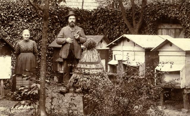 En bigård i Roskilde ca. 1920. Foto tilhører Det Grønne Museum.